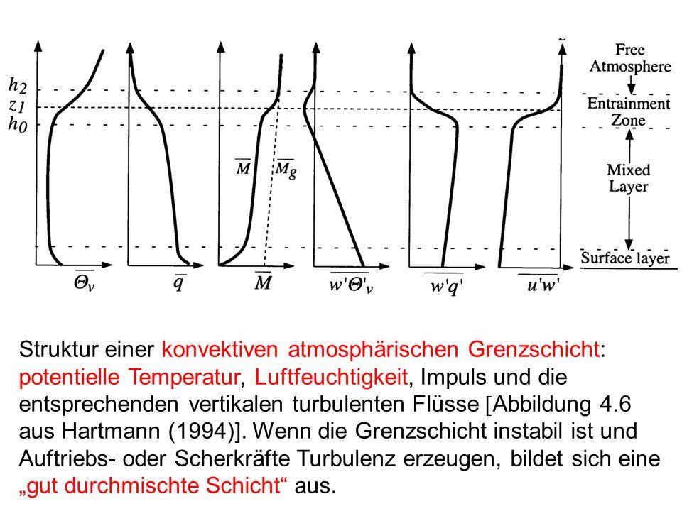 Struktur einer konvektiven atmosphärischen Grenzschicht: potentielle Temperatur, Luftfeuchtigkeit, Impuls und die entsprechenden vertikalen turbulenten Flüsse [Abbildung 4.6 aus Hartmann (1994)].